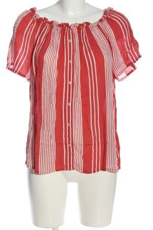 Yessica Bluzka z krótkim rękawem czerwony-biały Wzór w paski W stylu casual