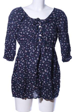 Yessica Langarm-Bluse blau-weiß Blumenmuster Casual-Look