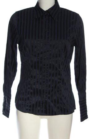 Yessica Camisa de manga larga azul-negro estampado a rayas look casual