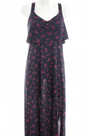 Yessica Maxikleid schwarz-pink Allover-Druck Casual-Look