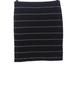 Yessica Minirock schwarz-silberfarben Streifenmuster Casual-Look