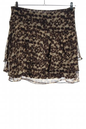 Yessica Mini rok bruin-room abstract patroon casual uitstraling