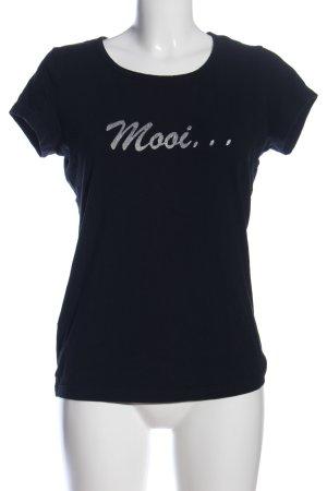 Yessica Print-Shirt schwarz Schriftzug gedruckt Casual-Look