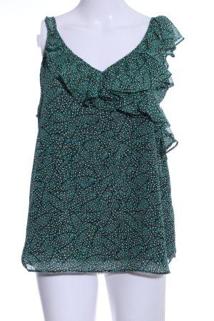 Yessica Top met franjes groen-zwart abstract patroon casual uitstraling