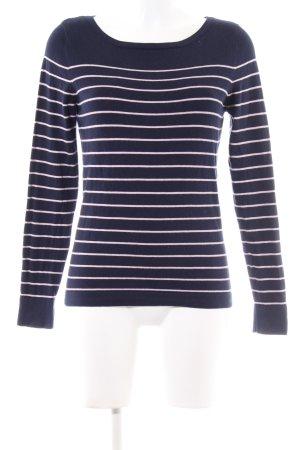 Yessica Rundhalspullover blau-weiß Streifenmuster Casual-Look