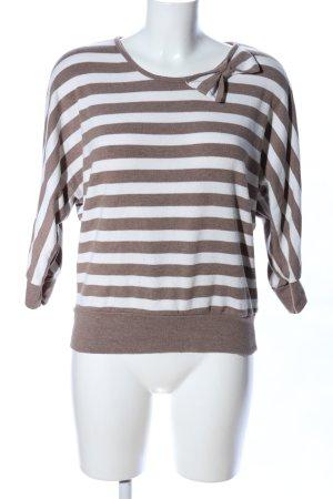 Yessica Rundhalspullover braun-weiß Streifenmuster Casual-Look