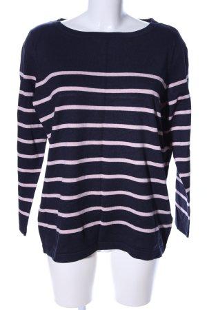 Yessica Rundhalspullover schwarz-pink Streifenmuster Casual-Look