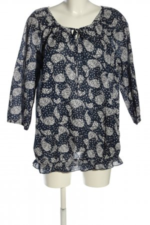 Yessica Schlupf-Bluse blau-weiß abstraktes Muster Casual-Look