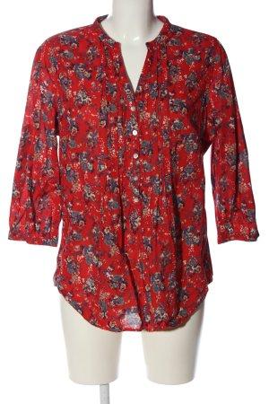 Yessica Schlupf-Bluse rot-blau Blumenmuster Casual-Look