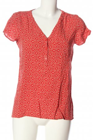 Yessica Kurzarm-Bluse rot-wollweiß Allover-Druck Casual-Look