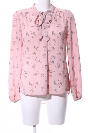 Yessica Tie-neck Blouse pink-black allover print casual look