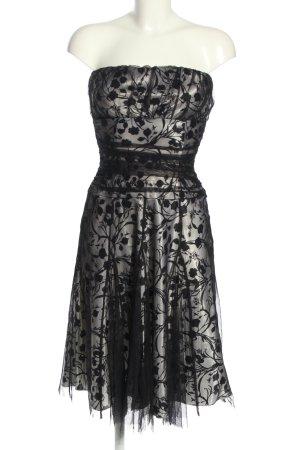 Yessica schulterfreies Kleid silberfarben-schwarz abstraktes Muster Elegant