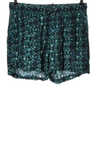Yessica Shorts grün-schwarz Allover-Druck Casual-Look