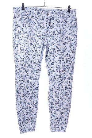 Yessica Slim Jeans blau-weiß Allover-Druck Casual-Look