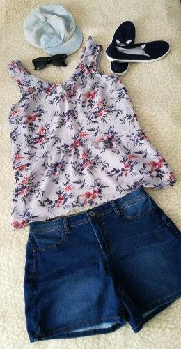 Yessica sommerliches Schößchentop Trägertop Sommer Shirtbluse Tanktop Shirt Bluse Top mit Schößchen Blumen