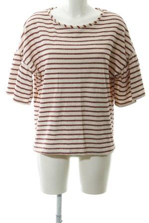 Yessica Sweatshirt creme-dunkelrot Streifenmuster Casual-Look