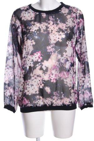 Yessica Transparenz-Bluse pink-schwarz Blumenmuster Casual-Look