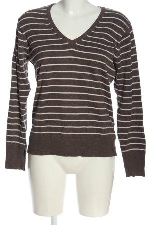 Yessica V-Ausschnitt-Pullover braun-wollweiß meliert Casual-Look