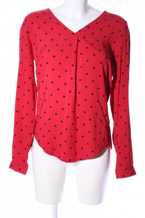 Yest Langarm-Bluse rot-schwarz Punktemuster Casual-Look