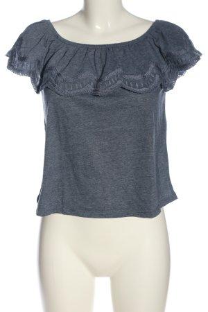 yfl RESERVED Carmenshirt blau meliert Casual-Look