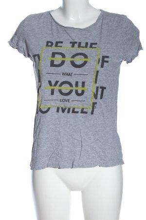 yfl RESERVED Print-Shirt hellgrau-schwarz meliert Casual-Look