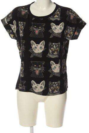yfl RESERVED Print-Shirt schwarz-hellgrau Allover-Druck Casual-Look