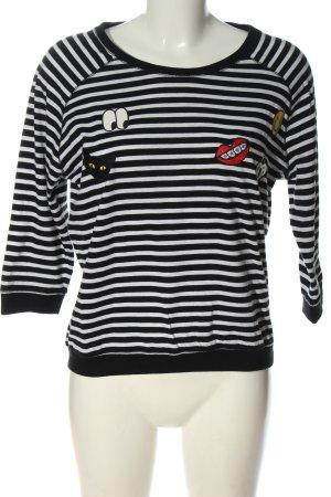 yfl RESERVED T-shirt rayé noir-blanc style décontracté