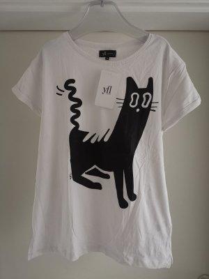 YFL Reserved Shirt mit Katzenprint Gr M