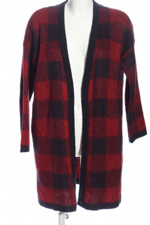 yfl RESERVED Strick Cardigan rot-schwarz Allover-Druck Casual-Look