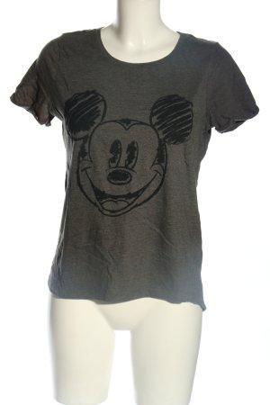yfl RESERVED T-Shirt hellgrau-schwarz Motivdruck Casual-Look