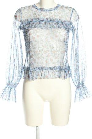 yfl RESERVED Transparenz-Bluse Blumenmuster extravaganter Stil