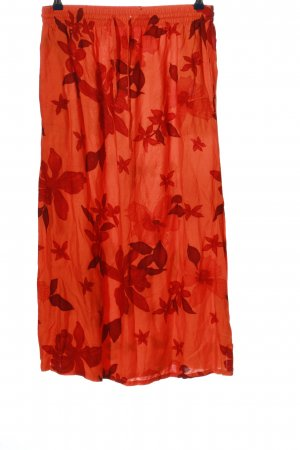 YGCC Maxi Skirt light orange-red allover print casual look