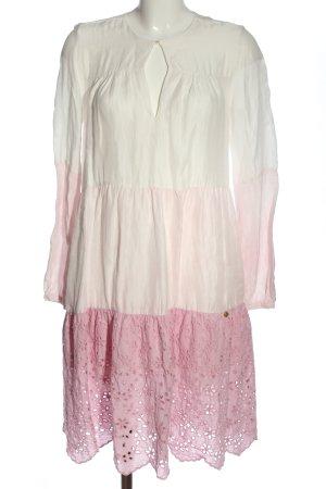 Yippie Hippie Vestido babydoll rosa-blanco degradado de color look casual