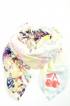 Yippie Hippie Summer Scarf cream-blue abstract pattern casual look