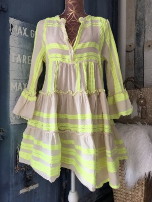 Keine Marke Hippie Dress neon yellow-cream cotton