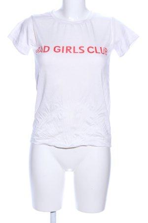 Yiqiaohui T-Shirt weiß Schriftzug gedruckt Casual-Look