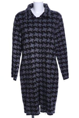 yock Cappotto a maglia nero-grigio chiaro stampa integrale stile casual