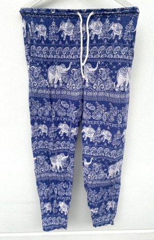 Pantalon large blanc-bleu
