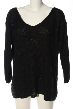 YOINS Gehaakt shirt zwart casual uitstraling