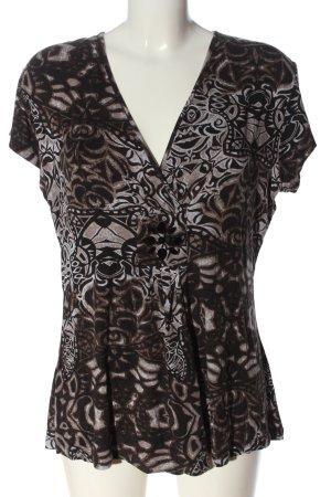 Yorn Top taille empire brun-blanc motif abstrait style mouillé