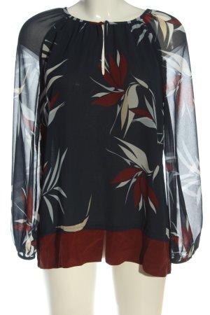 Yorn Langarm-Bluse abstraktes Muster Casual-Look