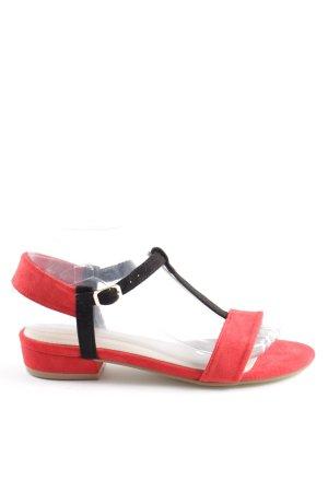 Sandalias de tiras rojo-negro look casual