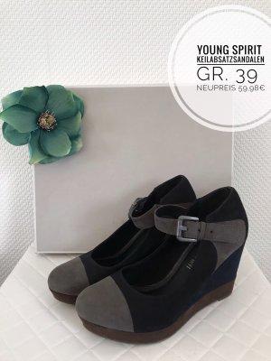Young Spirit Keilabsatz Sandalen Sommer Schuhe 39 vintage boho blogger Sandaletten