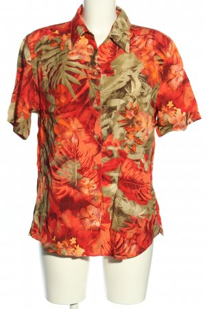Your 6th Sense Hemd-Bluse hellorange-braun Blumenmuster Casual-Look