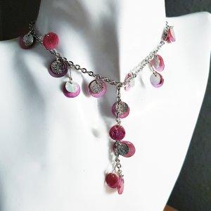 Collier incrusté de pierres argenté-rose