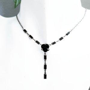 Necklace black-silver-colored