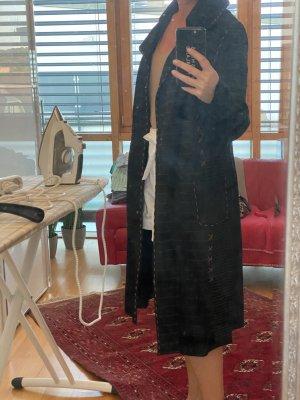 Manteau en cuir noir-cognac