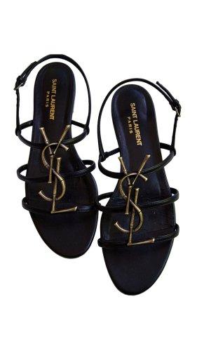 Yves Saint Laurent Spartiate noir cuir