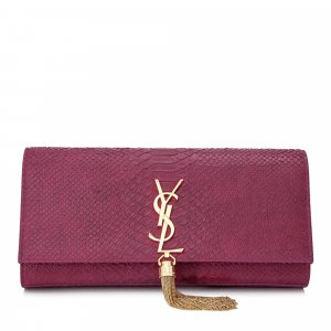 YSL Cassandre Embossed Leather Clutch Bag