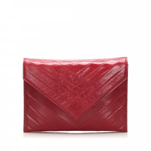 Yves Saint Laurent Borsa clutch bordeaux Pelle